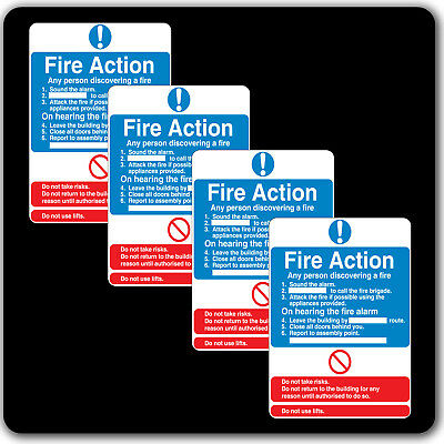 4 x FIRE Action Sign Assembly Point Health and Safety Emergency Label Sticker