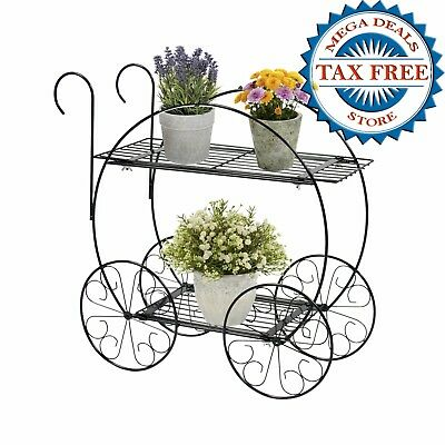 Vintage Plant Stand Metal Steel Two Tiered Outdoor Garden Patio Cart Planter