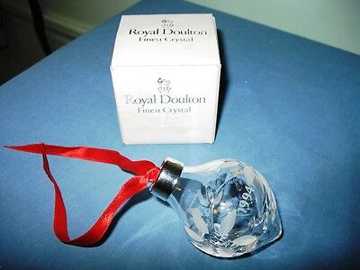 1994 Royal Doulton Dated Etched Crystal Teardrop Ornament W/original Box!