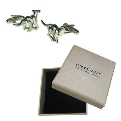 Mens Silver Greyhound Dog Race Pet Cufflinks & Gift Box By Onyx Art