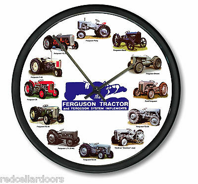 "New MASSEY FERGUSON 10"" Tractor Clock Blue Logo 12 Tractors Wheel Dial Farmer"