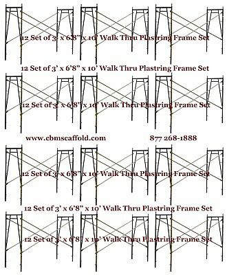 "12 SET of 3' X 6'8"" X 10' Plastering Masonry Scaffold Frame Set CBM Scaffold"