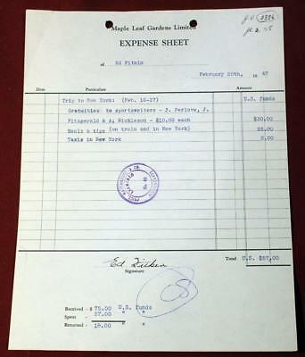 2- 1947 Maple Leaf Gardens Documents Signed Ed Fitkin Initialled by Conn Smythe!