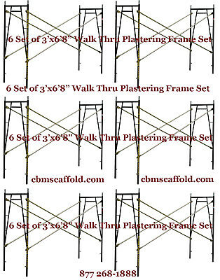 "6 SET of 3' X 6'8"" X 10' Plastering Masonry Scaffold Frame Set CBM Scaffold"