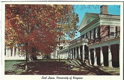 Vintage Postcard University of Virginia Charlottesville East Lawn Chrome Teich