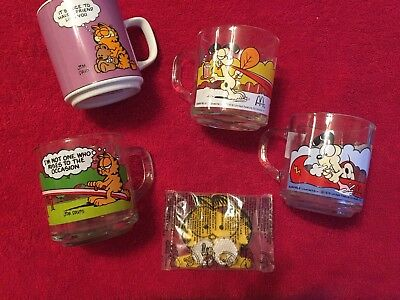 Set of 3 Vintage Garfield & Odie Glass Mugs, McDonald's Promo, 1978, Jim Davis +
