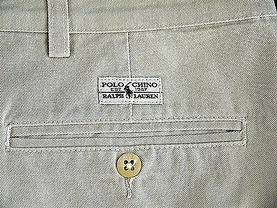 VINTAGE POLO RALPH LAUREN khaki chino cotton SHORTS mens 40 pleated MADE IN USA
