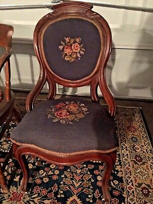 Antique Carved  Victorian Rococo Needlepoint Chair ~Ca1860