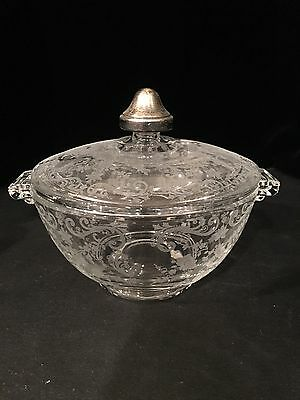 Cambridge Chantilly etched covered candy dish sterling knob pristine blank