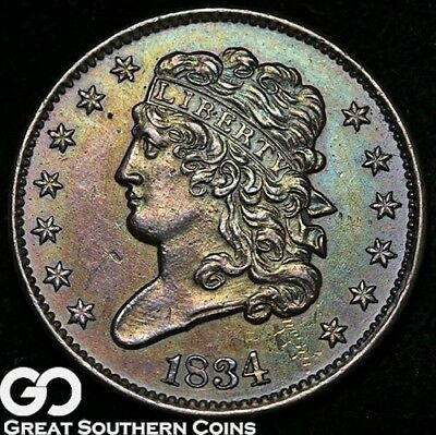 1834 Half Cent, Classic Head, Choice AU++/Uncirculated, Sharp Strike
