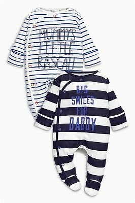 BNWT baby boys2pk Daddy Mummy sleepsuits NEWBORN First Size 0-1,0-3-6,9-12 NEXT