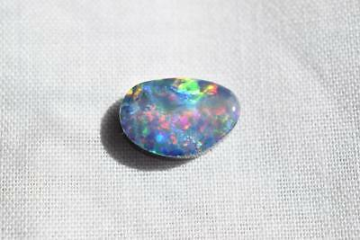 Black Opal Doublet (#25) 1.52 Carats 10.5mm X 6.8mm Free Form Doublet $200.00