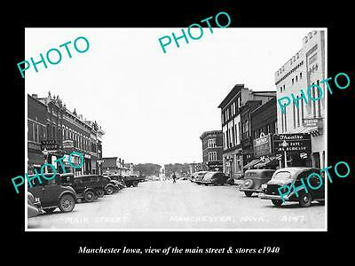 OLD LARGE HISTORIC PHOTO OF MANCHESTER IOWA, THE MAIN STREET & STORES c1940