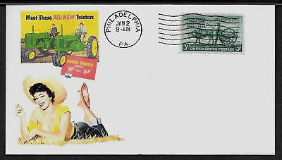 1952 John Deere Tractor & Pin Up Girl Featured on Collector's Envelope *A565