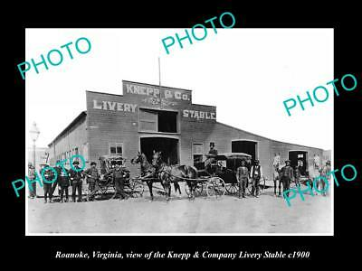 OLD LARGE HISTORIC PHOTO OF ROANOKE VIRGINIA, KNEPP HORSE LIVERY STABLES c1900