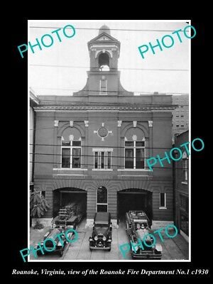 Old Large Historic Photo Of Roanoke Virginia, The Fire Department Station 1930 2