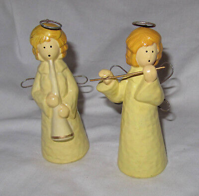 """lot of 2 angels wire wings chalkware creamy white vintage old 5 3/4"""" tall"""
