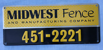 Vintage MIDWEST FENCE & MFG CO Advertising Embossed SIGN NOS