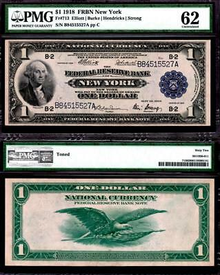1918 $1~Large Size~National Currency Note New York~Uncirculated Pmg 62
