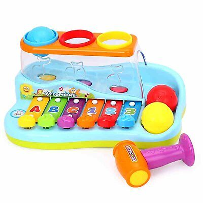 Huile Musical Toy Rainbox Xylophone Piano Pounding Bench with Balls and Hammer