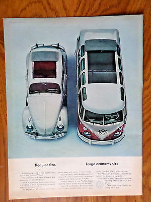 1963 VW Volkswagen Bus Ad  Regular Size Large Economy Size