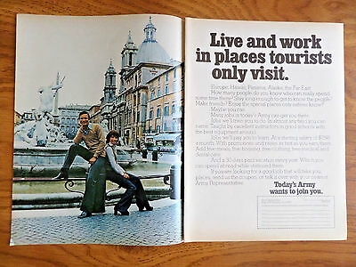 1972 Army Recruiting Ad Live & Work in Places tourists only visit