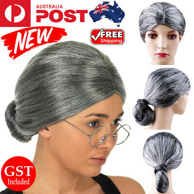 Grandma Wig Old Lady Woman Grey Silver Granny Mother Wigs Cosplay Costume Party