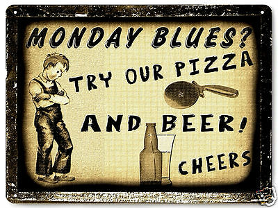 Pizza Beer shop METAL sign diner Pub Tavern restaurant vintage style decor 069