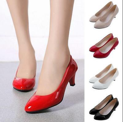 New Womens Ladies Low Mid High Kitten Heel OL Work Party Casual Shoes Pumps Size