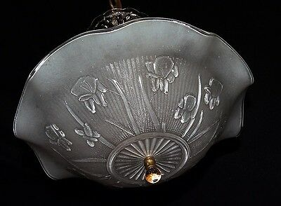 Vtg Art Deco Victorian Iris Glass Shade Chandelier Ceiling Fixture