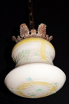 Deco Era Antique Pendant Swag Glass Shade Slip Ceiling Light Fixture Chandelier