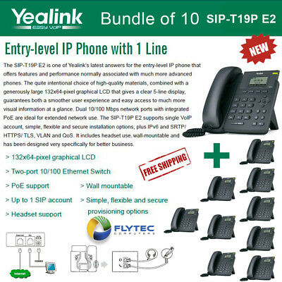 Yealink SIP-T19P E2 10-PACK VoIP Phone with 1 Line, PoE, Dual 10/100 Mbps