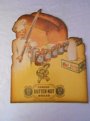 "GENUINE BUTTER-NUT DIE-CUT AD POSTER HEAVY CARDSTOCK W/ EYELET 10"" x 13"""