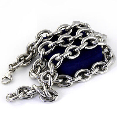 """8""""-40"""" Pure Stainless steel Men's Chunky Oval Link Chain Necklace Bracelet 15mm"""
