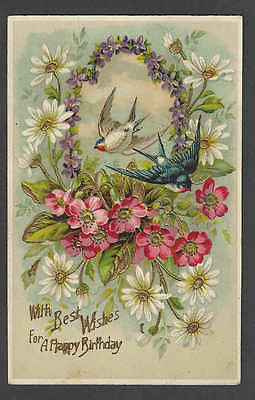 1912 PPC* Happy Birthday Embossed & Celuloid Posted