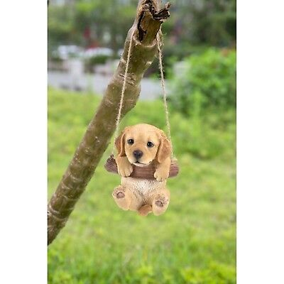 Golden Retriever Puppy Dog Hanging Life Like Figurine Home Garden Decor