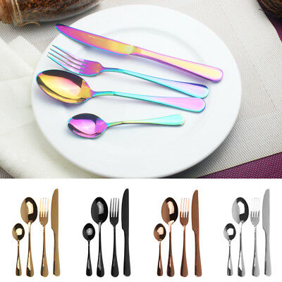 4Pcs/Set Stainless Steel Knives Fork Spoon Teaspoon Dinnerware Black Cutlery AU