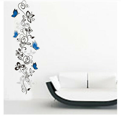 Flowers Butterfly Wall Stickers Decal Art Vinyl Flower Mural Home Room Decor DIY