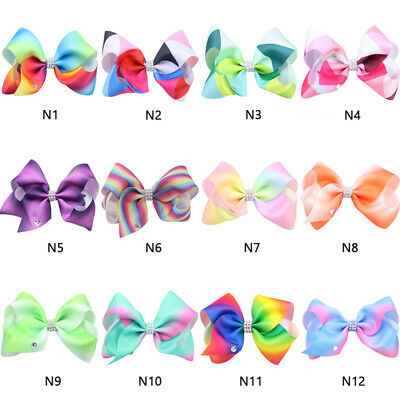 Girls Large Bowknot Hair Bow Jojo Alligator Clips Ribbon Hair Clip Hair Pins