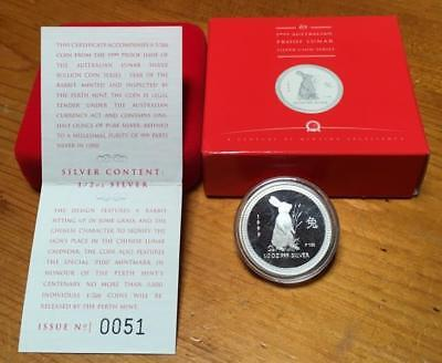 1999 50 Cent Year Of The Rabbit..silver Proof Lunar Issue..series 1..scarce.