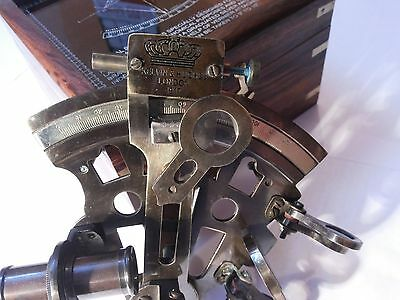 "Antique Nautical Brass Sextant German Marine Sextant 4"" With Wooden Box"
