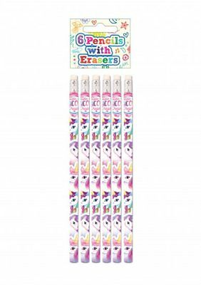 6pc UNICORN PENCILS WITH ERASERS