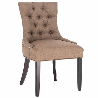 Fabric Dining Chair Tufted Leisure Padded Upholestered Nailed Trim w/ Wood Legs