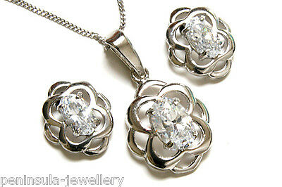 9ct White Gold Celtic CZ Pendant and Earring Set Gift Boxed Made in UK