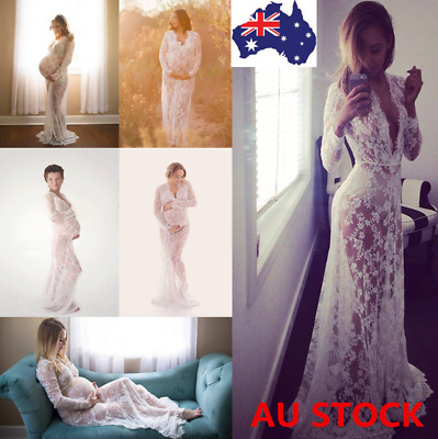 Pregnant Women Lace Sheer Maternity Gown Maxi Dress Photography Props 12 Style