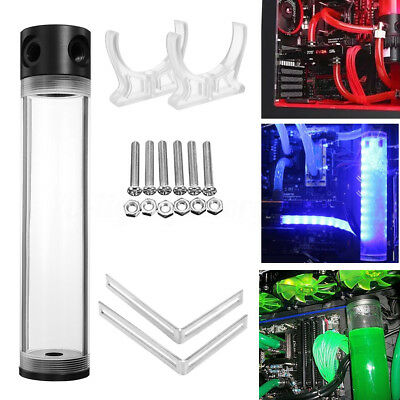 G1/4 T 50mm x 240mm Reservoir Helix Suspension Water Liquid Cooling Tank For PC