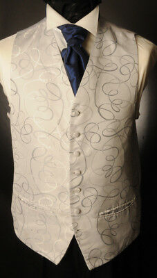 Cw8. Mens/boys Silver Mexico Swirl Waistcoat /wedding/suit/party/formal