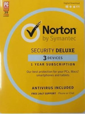 Norton Security Deluxe 2018 Latest 3 PCs 1 Year License Activation Key Code