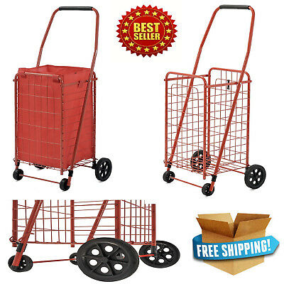 Shopping Cart Jumbo Basket Grocery Laundry Travel Folding With Swivel Wheel 66lb