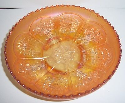 Carnival Glass Marigold Peacocks & Grapes Round Bowl with Spatula Legs - Vintage